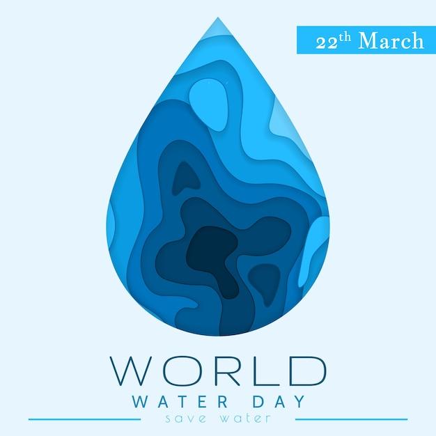 Dia mundial da água em estilo de corte de papel. conceito abstrato de gota d'água. economize a água. ecologia. pingo d'água. Vetor Premium