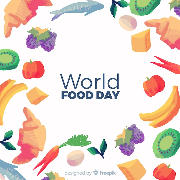 Dia mundial da alimentação em aquarela Vetor grátis