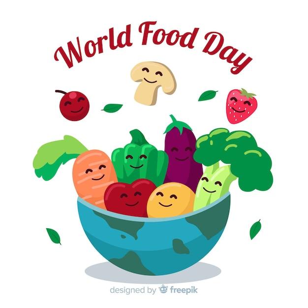 Dia mundial da alimentação em design plano Vetor grátis