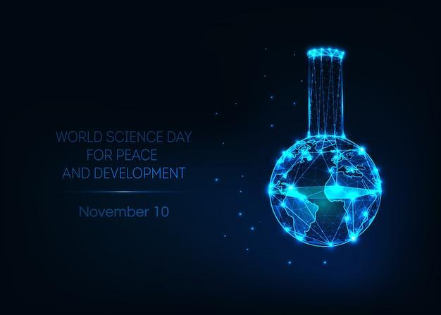 Dia mundial da ciência para a bandeira de paz e desenvolvimento com copo de laboratório e mapa da terra. Vetor Premium