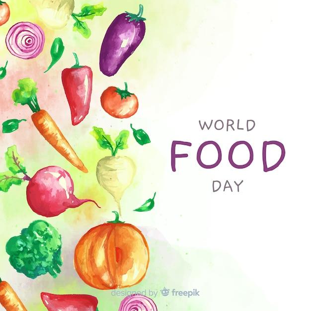Dia mundial da comida com design de aquarela aliments Vetor grátis