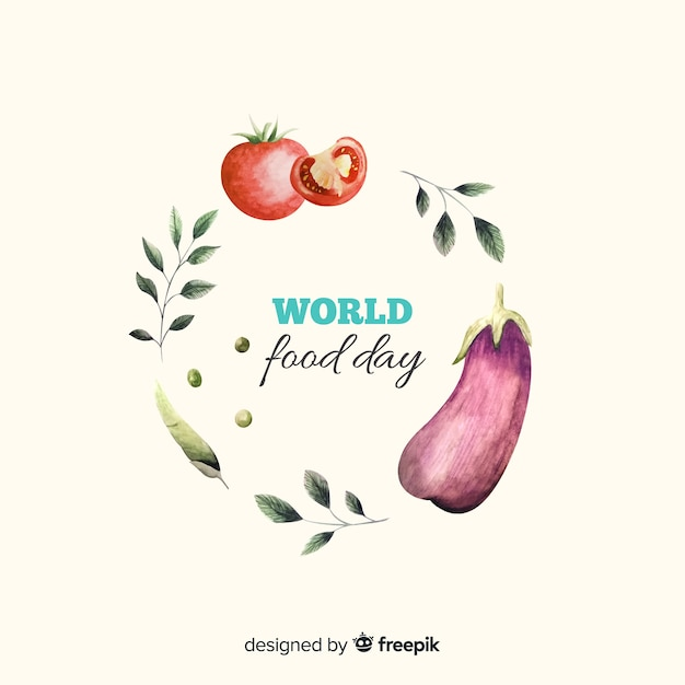 Dia mundial da comida com legumes em aquarela design Vetor grátis