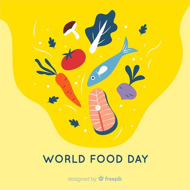 Dia mundial da comida com peixe em design plano Vetor grátis