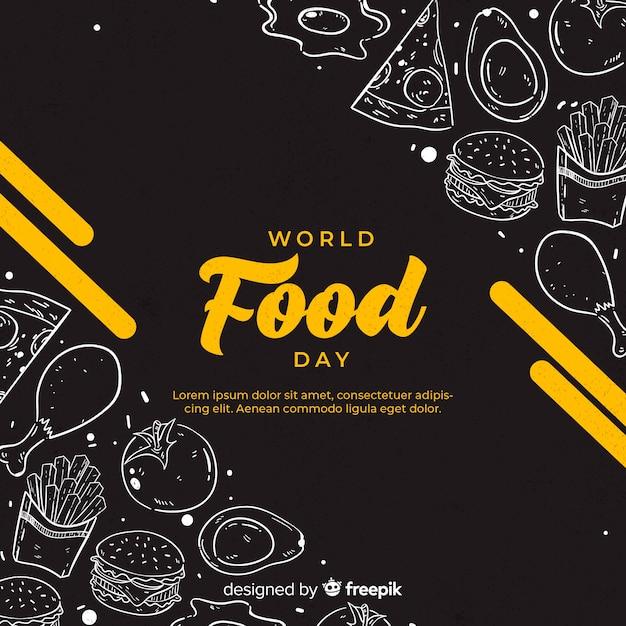 Dia mundial da comida desenhada de mão Vetor Premium