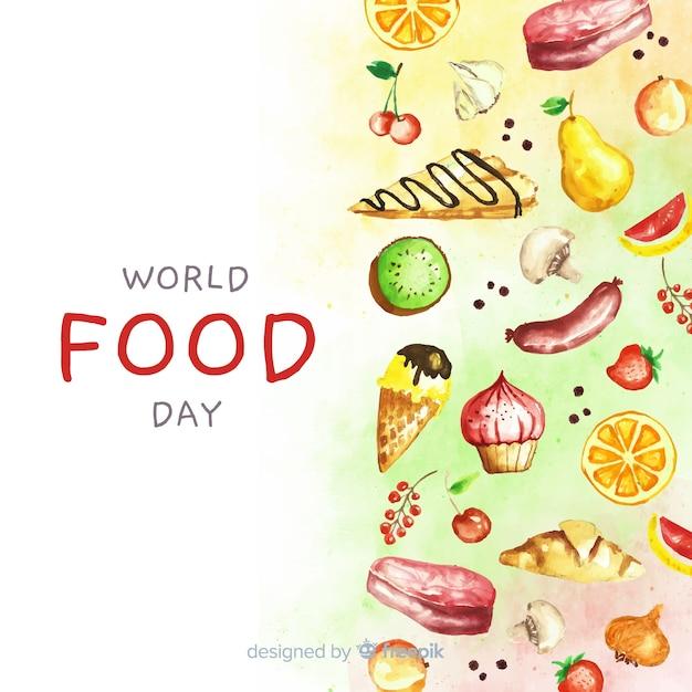 Dia mundial da comida em aquarela com alimentos Vetor grátis
