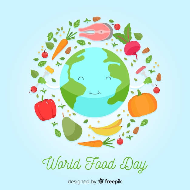 Dia mundial da comida plana com feliz planeta terra Vetor grátis