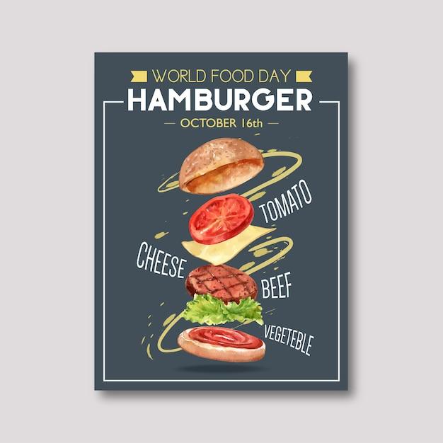 Dia mundial da comida poster com hambúrguer, tomate, carne, ilustração de aquarela vegetal. Vetor grátis