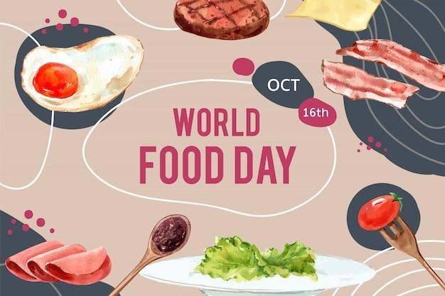 Dia mundial da comida quadro com ovo frito, bacon, bife, presunto aquarela ilustração. Vetor grátis