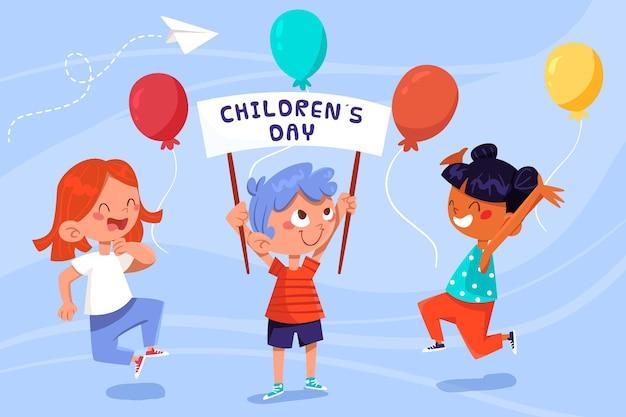 Dia mundial da criança desenhado à mão Vetor grátis