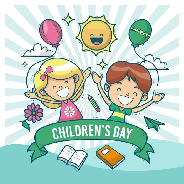 Dia mundial da criança desenhado à mão Vetor Premium