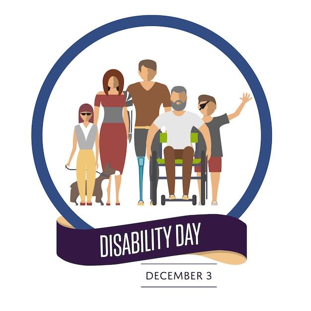 Dia mundial da deficiência cartão Vetor Premium