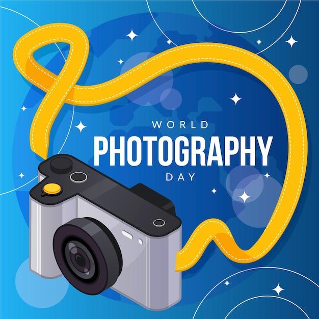 Dia mundial da fotografia com câmera Vetor grátis