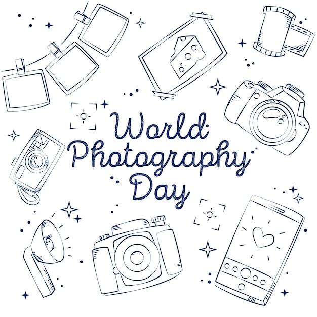 Dia mundial da fotografia de mão desenhada Vetor Premium