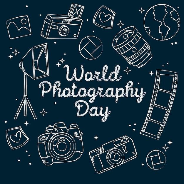 Dia mundial da fotografia desenhada Vetor Premium