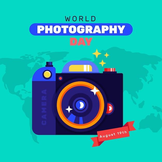 Dia mundial da fotografia design plano Vetor grátis