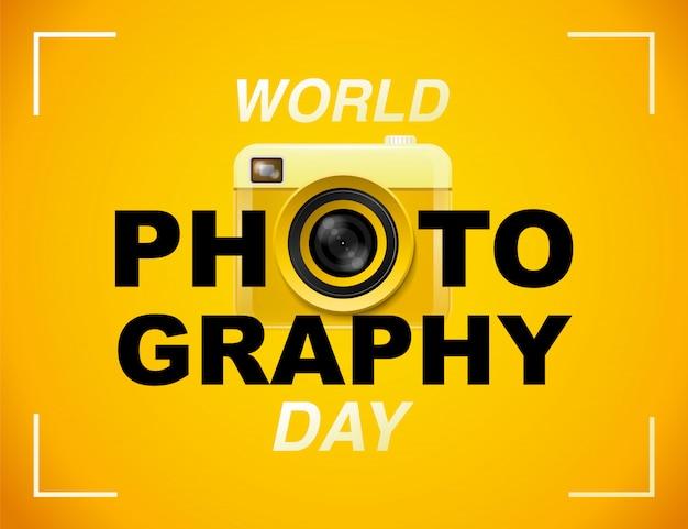 Dia mundial da fotografia, evento, banner, logotipo, tipografia. Vetor Premium