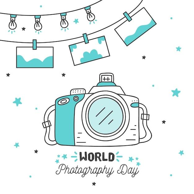 Dia mundial da fotografia mão estilo desenhado Vetor grátis