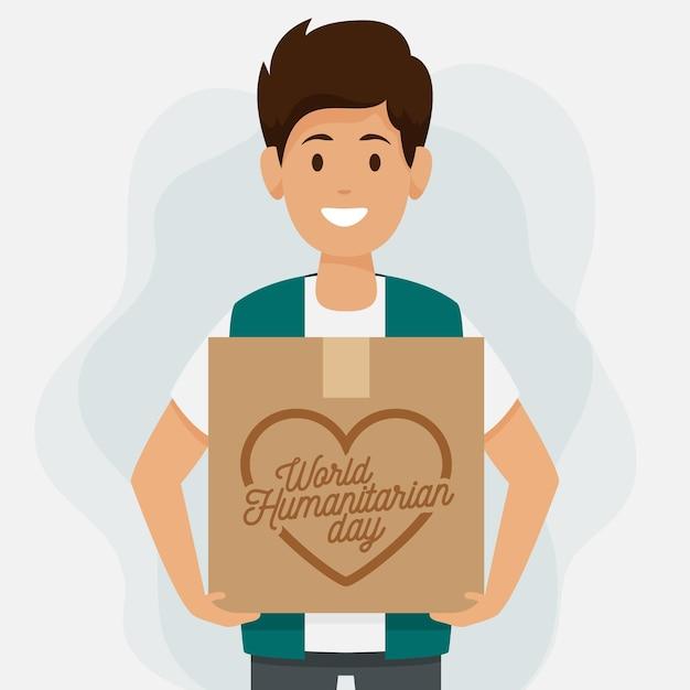 Dia mundial da humanidade com homem segurando a caixa Vetor grátis