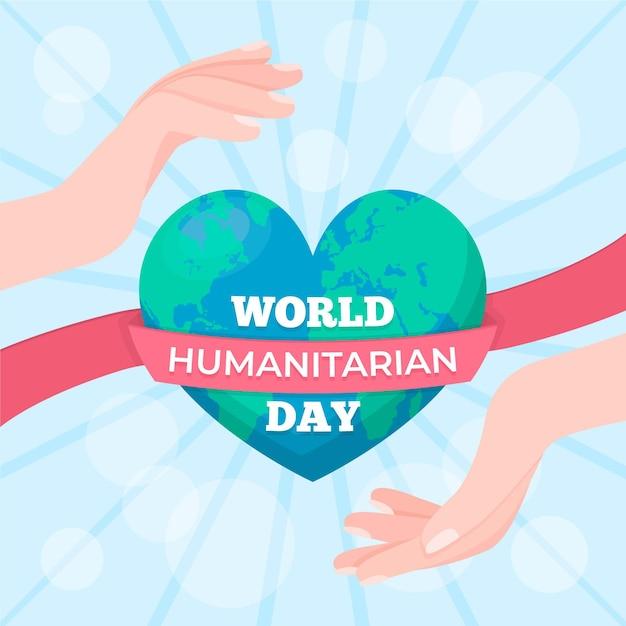 Dia mundial da humanidade com o planeta Vetor grátis