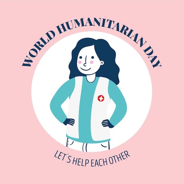 Dia mundial da humanidade com trabalhador Vetor grátis