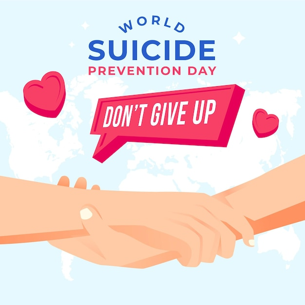 Dia mundial da prevenção do suicídio com as mãos Vetor grátis