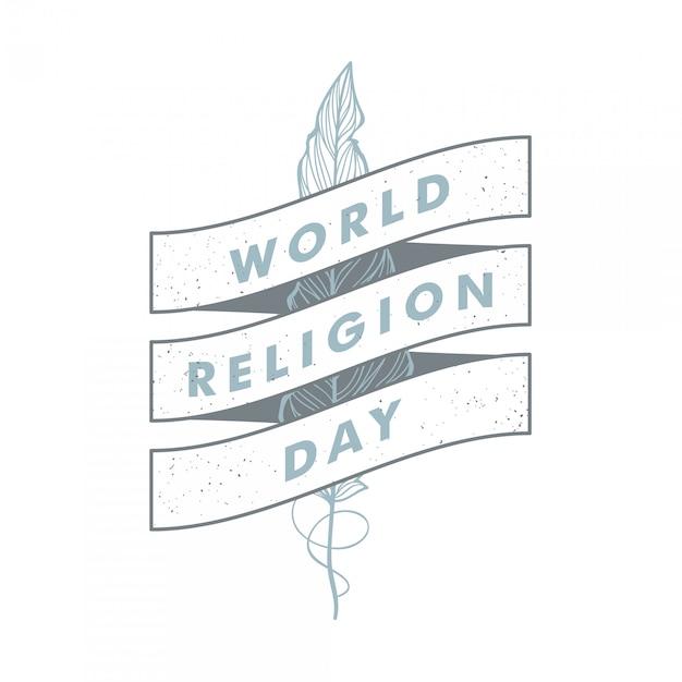 Dia mundial da religião vintage vector Vetor Premium