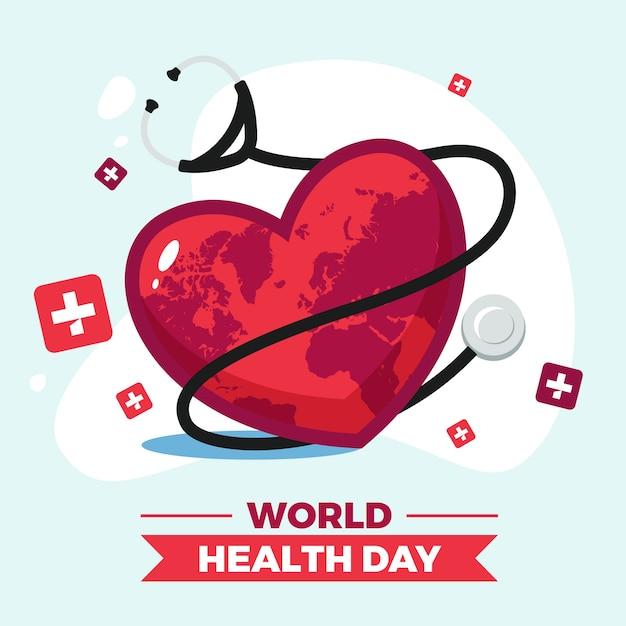 Dia mundial da saúde com fita e estetoscópio Vetor grátis