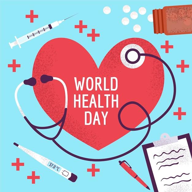 Dia mundial da saúde com pílulas e estetoscópio Vetor grátis