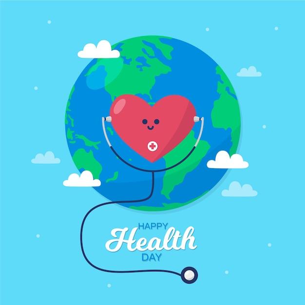 Dia mundial da saúde coração ouvindo um estetoscópio Vetor grátis