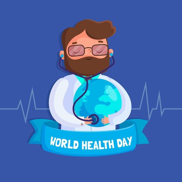 Dia mundial da saúde de fundo de design plano Vetor grátis