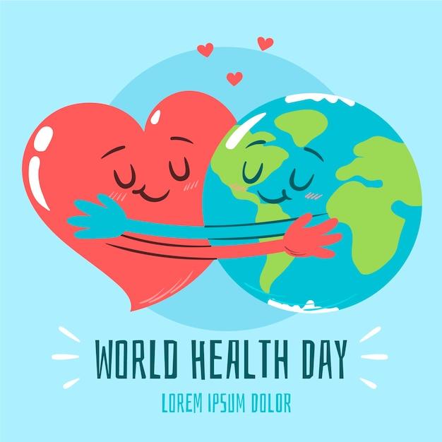 Dia mundial da saúde de fundo de mão desenhada Vetor grátis