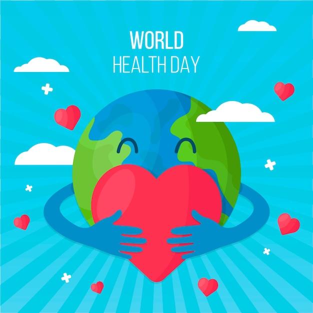 Dia mundial da saúde design plano Vetor grátis