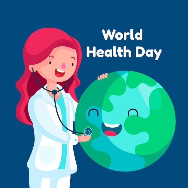 Dia mundial da saúde do papel de parede design plano Vetor grátis