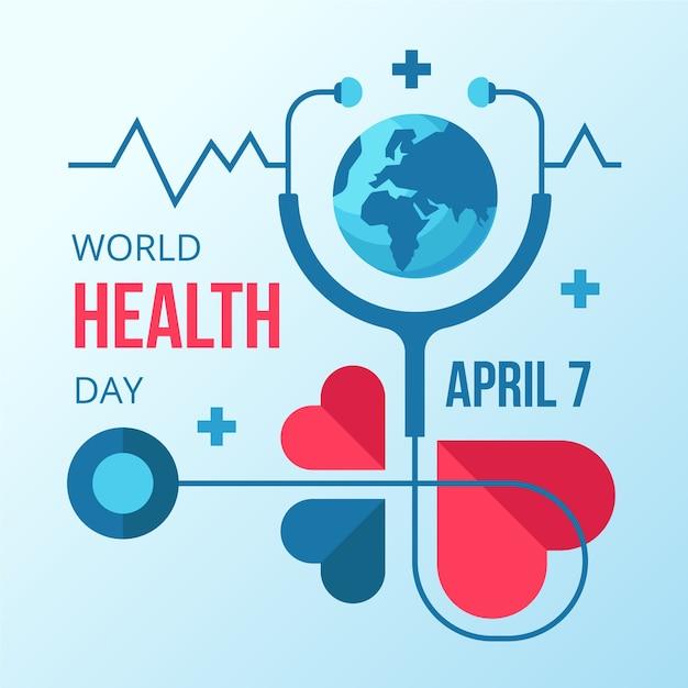 Dia mundial da saúde em design plano Vetor grátis