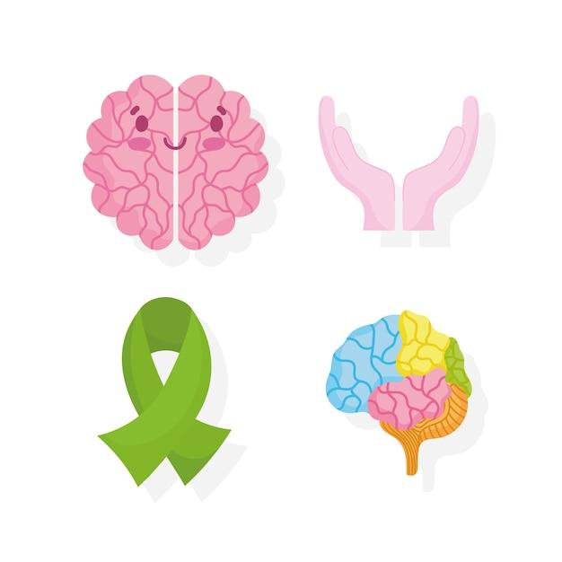Dia mundial da saúde mental, ícones de apoio de mãos de fita de cérebro de desenho animado Vetor Premium