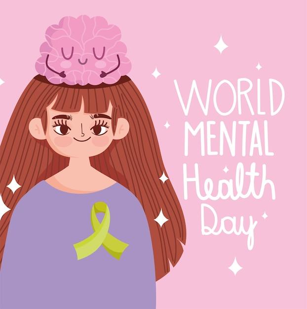 Dia mundial da saúde mental, jovem com desenho de cérebro na cabeça Vetor Premium