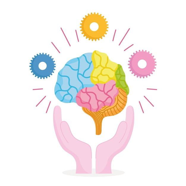 Dia mundial da saúde mental, mãos com cérebro humano e engrenagens Vetor Premium
