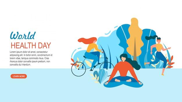 Dia mundial da saúde mulher esporte treinamento ao ar livre Vetor Premium
