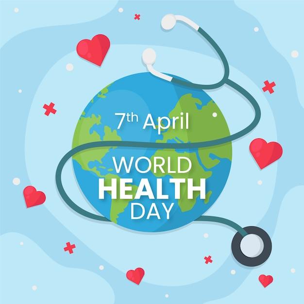 Dia mundial da saúde papel de parede design plano Vetor grátis