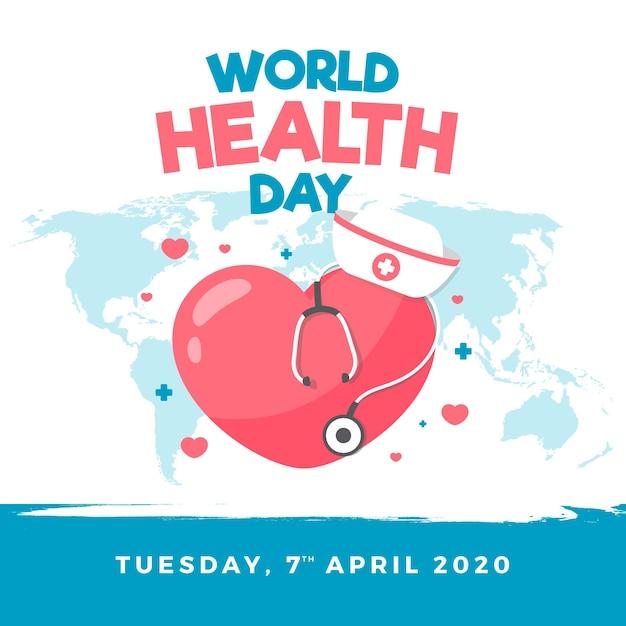 Dia mundial da saúde papel de parede em design plano Vetor grátis