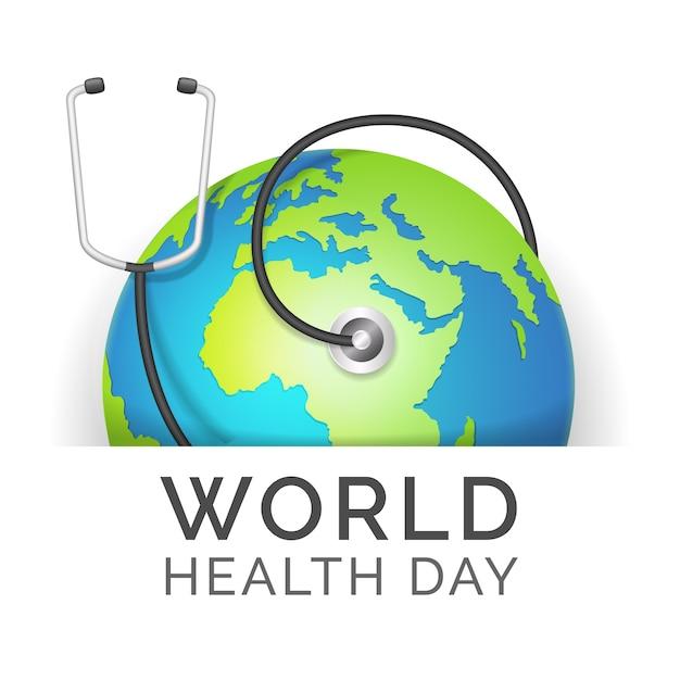 Dia mundial da saúde realista com terra e estetoscópio Vetor grátis