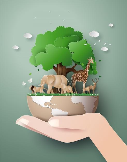 Dia mundial da vida selvagem com o animal na floresta Vetor Premium