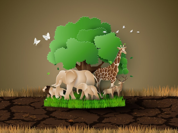 Dia mundial da vida selvagem Vetor Premium