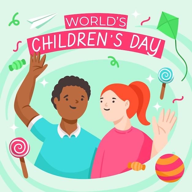 Dia mundial das crianças desenhadas à mão Vetor grátis