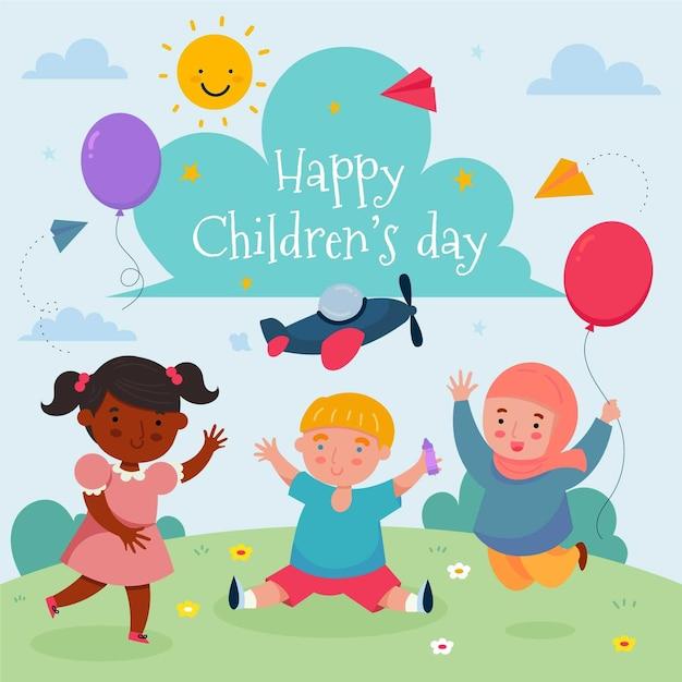Dia mundial das crianças desenhadas à mão Vetor Premium