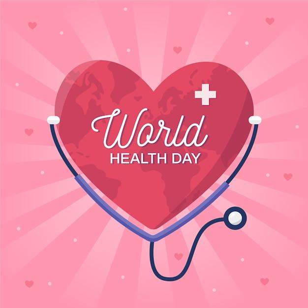 Dia mundial de prevenção de saúde plana Vetor grátis