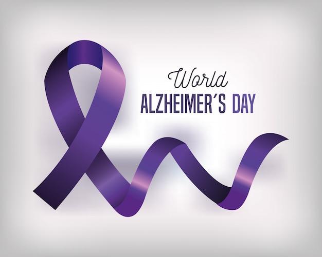 Dia mundial do alzheimer com fita roxa Vetor Premium