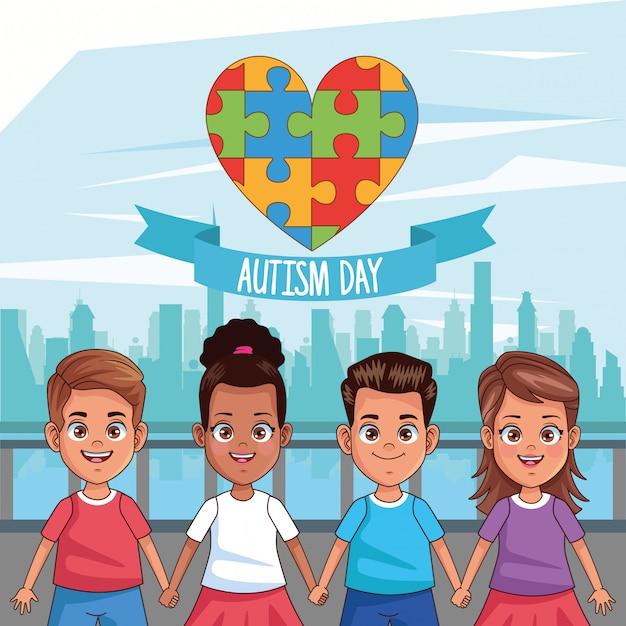 Dia mundial do autismo com crianças e peças de quebra-cabeça vector design ilustração Vetor Premium