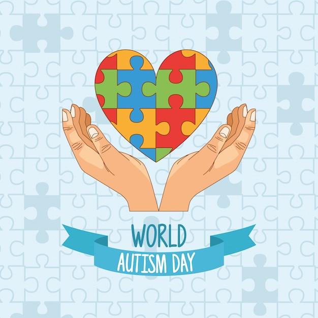 Dia mundial do autismo com mãos e quebra-cabeça coração Vetor Premium