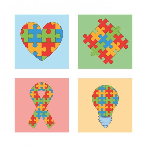 Dia mundial do autismo com peças de jogos de quebra-cabeça Vetor Premium